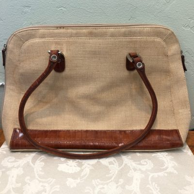 Cold water creek canvas and leather tote bag