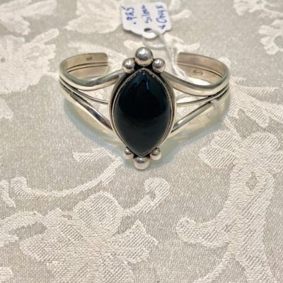 Bezeled Onyx Sterling Silver Arm Cuff