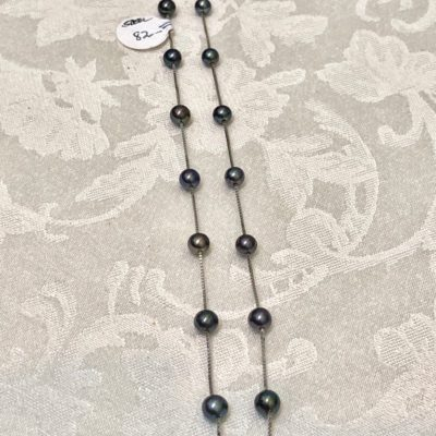 Sterling Silver Floating Black Freshwater Pearl Necklace
