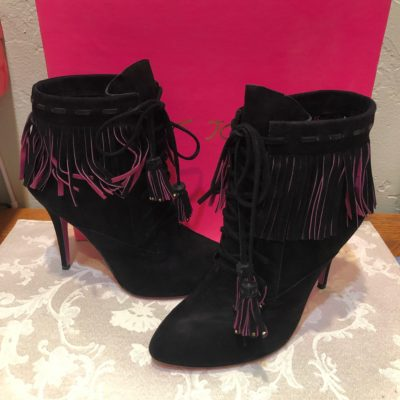 Betsey Johnson Black Suede Stiletto Ankle Boots